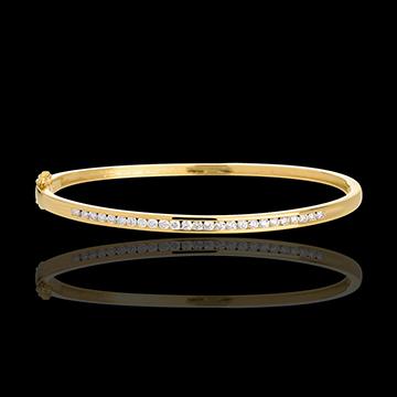 Yellow gold bangle/bracelet - 0.75 carat - 25 diamonds