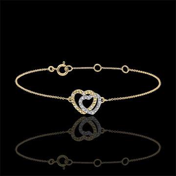 Yellow Gold Diamond Bracelet - Consensual Hearts - 9 carats