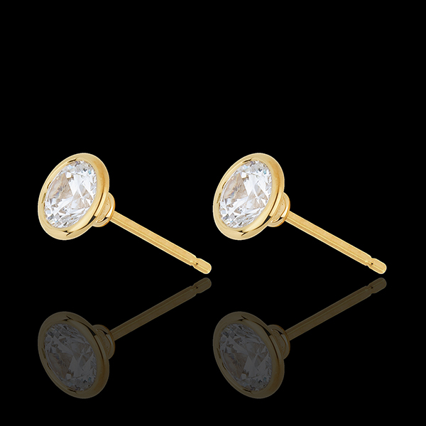 Yellow Gold Doll Solitaire Stud Earrings