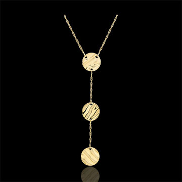 Yellow Gold Three Suns Necklace