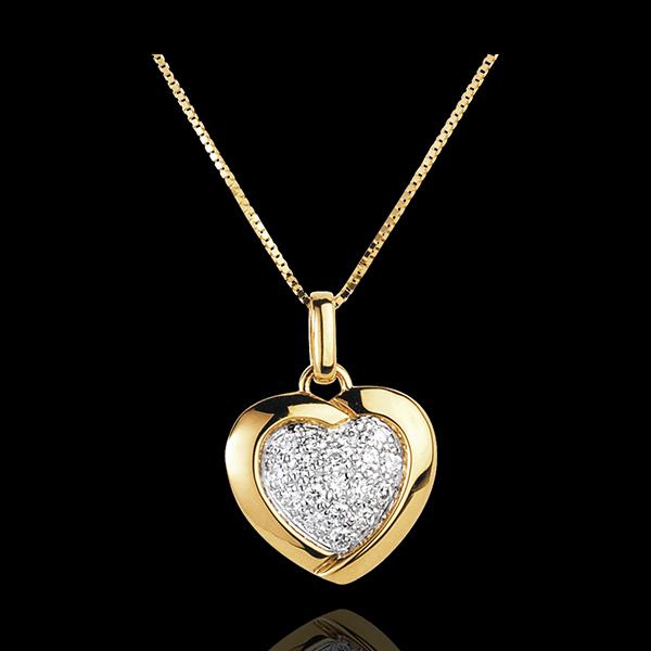 Yellow Sweetheart Pendant - 18 Diamonds