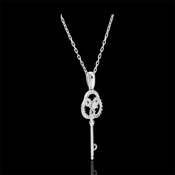 Zawieszka z białego złota 9-karatowego i diamentów - Klucz do Wieczności - z łańcuszkiem z białego złota 9-karatowego