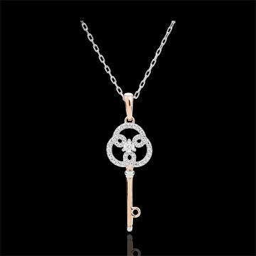 Zawieszka z diamentami - Klucz do Wieczności - złoto białe i złoto różowe 9-karatowe - z łańcuszkiem z białego złota