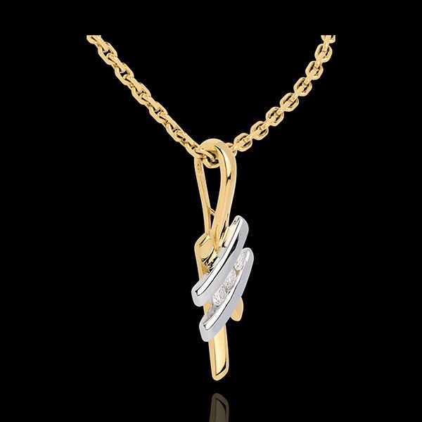 Zawieszka Drogocenne Gniazdo - Chiński znak z trzema diamentami - złoto białe i złoto żółte 18-karatowe