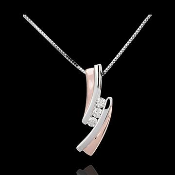 Zawieszka Drogocenne Gniazdo - Trzy diamenty - 3 diamenty - złoto białe i złoto różowe 18-karatowe
