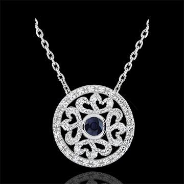 Zawieszka Kiona z białego złota 9-karatowego - diamenty i szafir