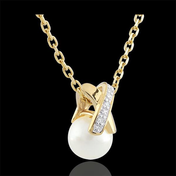 Zawieszka Krzyżyk z Perłą - złoto żółte 9-karatowe