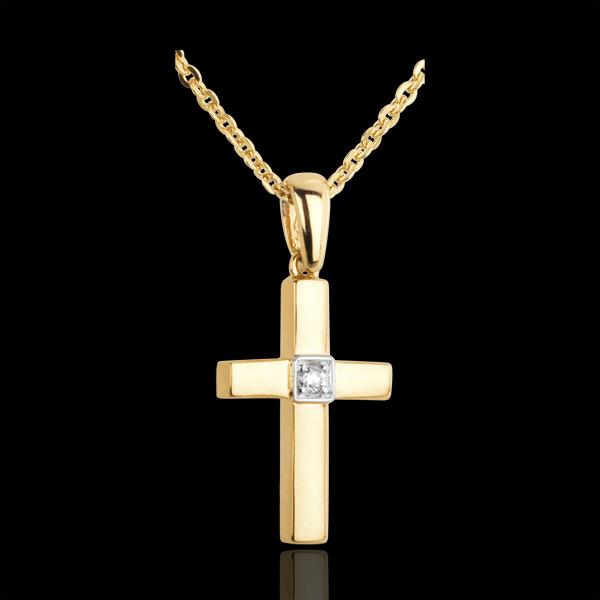 Zawieszka krzyżyk z pojedynczym diamentem - złoto żółte 18-karatowe