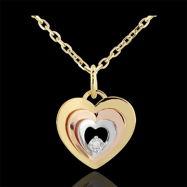 Zawieszka w kształcie serca Buduar - trzy rodzaje złota 9-karatowego
