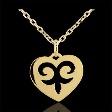 Zawieszka w kształcie serca Zaklęcie - złoto żółte 9-karatowe