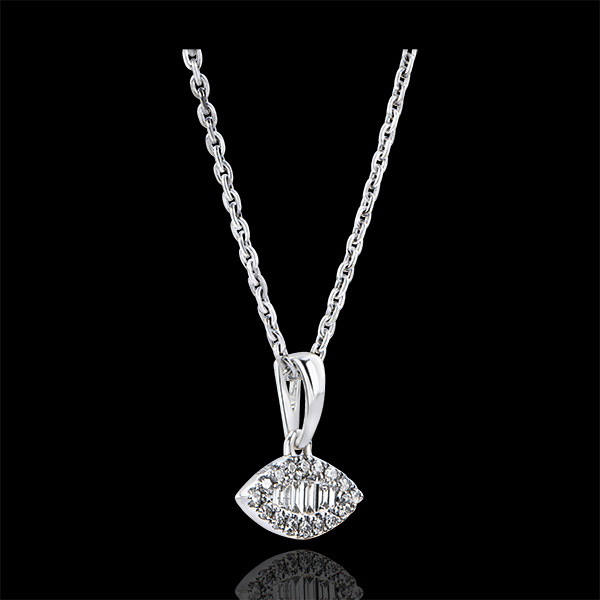 Zawieszka Obfitość – Podniesiony wzrok – białe złoto 9-karatowe z diamentami