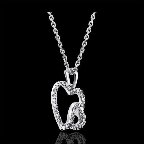 Zawieszka Obfitość – Podwójne serce – białe złoto 18-karatowe z diamentami