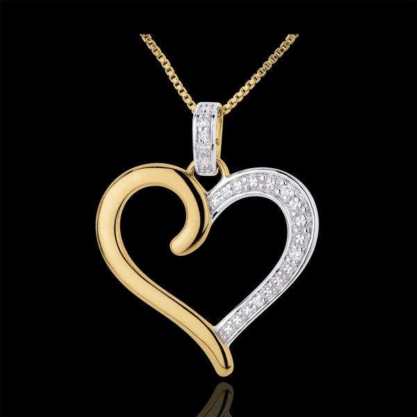 Zawieszka Serce Amazonka - złoto białe i złoto żółte 18-karatowe