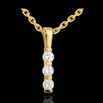 Zawieszka Totem z trzema diamentami - złoto żółte 18-karatowe - 0,24 karata - 3 diamenty