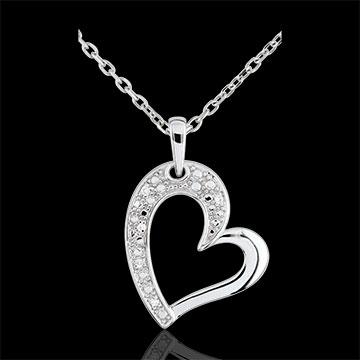 Zawieszka Twist w kształcie serca z białego złota 9-karatowego