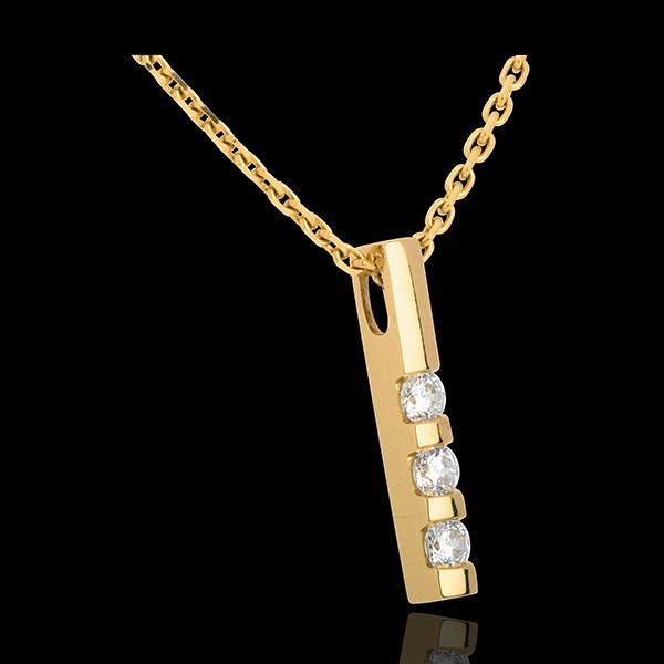 Zawieszka z żółtego złota 18-karatowego z trzema diamentami - 0,22 karata - 3 diamenty