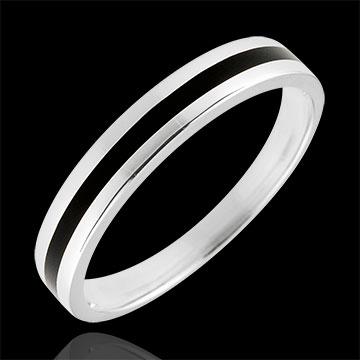 Złota obrączka męska Światłocień - Jedna linia - złoto białe 9-karatowe i czarna laka