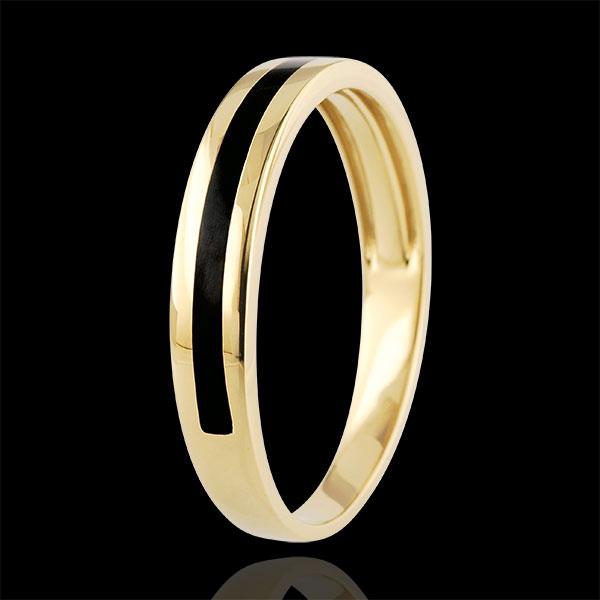 Złota obrączka męska Światłocień - Jedna linia - złoto żółte 9-karatowe i czarna laka
