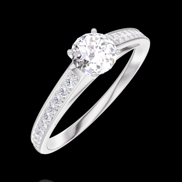 Bague Create 160007 Or blanc 18 carats - Diamant Rond 0.3 carat - Sertissage Diamant