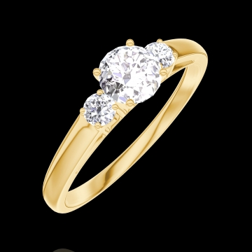 Create Engagement Ring 160021 Yellow gold 18 carats - Diamond white Round 0.3 Carats - Ring settings Diamond white