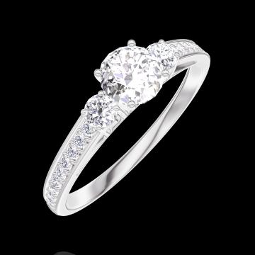 Ring Create 160027 Weißgold 750/-(18Kt) - Diamant Rund 0.3 Karat - Seitliche Steine Diamant - Fassung Diamant