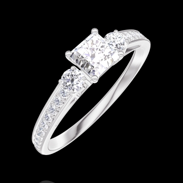 Ring Create Engagement 160127 Wit goud 18 karaat - Diamant Prinses 0.3 Karaat - Aanleunende edelstenen Diamant - Setting Diamant