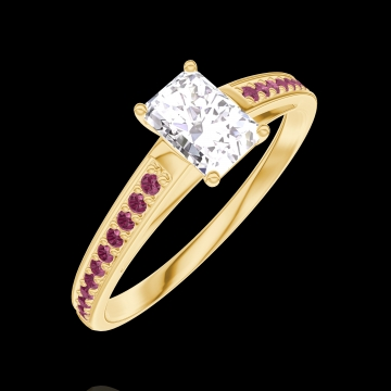 Ring Create 180210 Geelgoud 9 karaat - Laboratorium diamant Rechthoekig 0.3 Karaat - Setting Robijn
