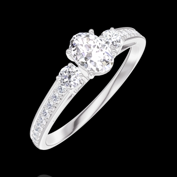 Anillo Create Engagement 160327 Oro blanco 18 quilates - Diamante Ovalo 0.3 quilates - Piedras laterales Diamante - Engastado Diamante