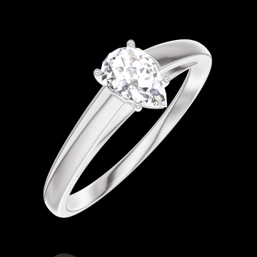 Ring Create 160403 Witgoud 18 karaat - Diamant Peer 0.3 Karaat