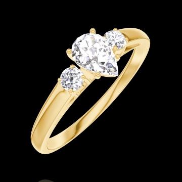 Ring Create 160421 Geelgoud 18 karaat - Diamant Peer 0.3 Karaat - Aanleunende edelstenen Diamant