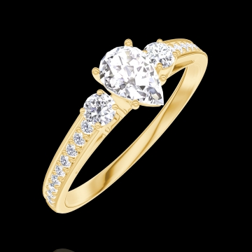 Anillo Create 160425 Oro amarillo 18 quilates - Diamante Pera 0.3 quilates - Piedras laterales Diamante - Engastado Diamante