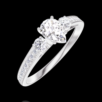 Ring Create 160427 White gold 18 carats - Diamond white Pear 0.3 Carats - Ring settings Diamond white - Setting Diamond white