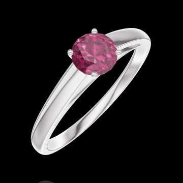 Create Engagement Ring 160604 White gold 9 carats - Ruby Round 0.3 Carats