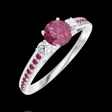 Anello Create 160632 Oro bianco 9 carati - Rubino Rotondo 0.3 Carati - Pietre laterali Diamante - Incastonatura Rubino