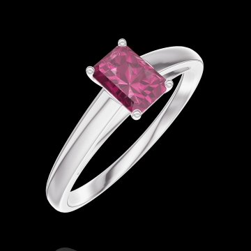 Bague Create 160804 Or blanc 9 carats - Rubis Rectangle 0.3 carat