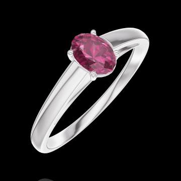 Ring Create 160904 White gold 9 carats - Ruby Oval 0.3 Carats