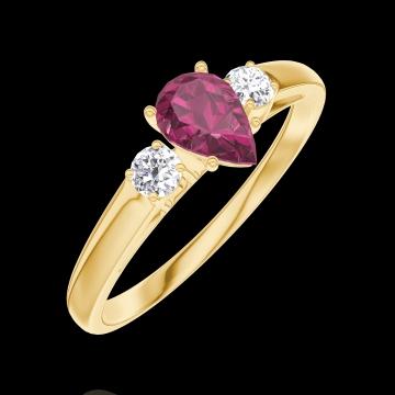 Pierścionek Create Zaangażowanie 161021 Żółte złoto 750 - Rubin Gruszka 0.3 karat - Kamienie boczne Diament