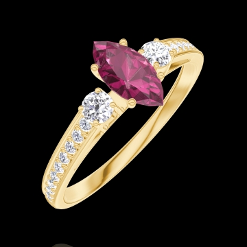 Bague Create 161126 Or jaune 9 carats - Rubis Marquise 0.3 carat - Pierres de côté Diamant - Sertissage Diamant
