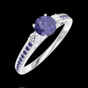 Ring Create 161236 White gold 9 carats - Blue Sapphire Round 0.3 Carats - Ring settings Diamond white - Setting Blue Sapphire