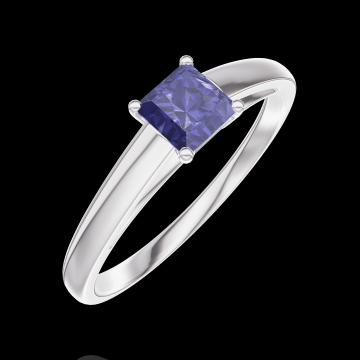 Ring Create 161304 White gold 9 carats - Blue Sapphire Princess 0.3 Carats