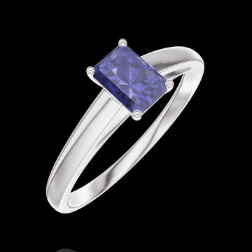 Ring Create 161404 Witgoud 9 karaat - Blauwe saffier Rechthoekig 0.3 Karaat