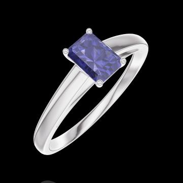 Ring Create Engagement 161404 Wit goud 9 karaat - Blauwe saffier Rechthoekig 0.3 Karaat