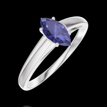 Ring Create Engagement 161704 Wit goud 9 karaat - Blauwe saffier Markies 0.3 Karaat