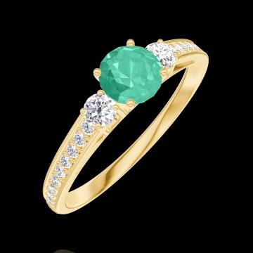 Anello Create 161826 Oro giallo 9 carati - Smeraldo Rotondo 0.3 Carati - Pietre laterali Diamante - Incastonatura Diamante