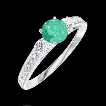 Inel Create 161828 Aur alb 9 carate - Smarald Rotund 0.3 carate - Pietre laterale Diamant - Încrustare Diamant