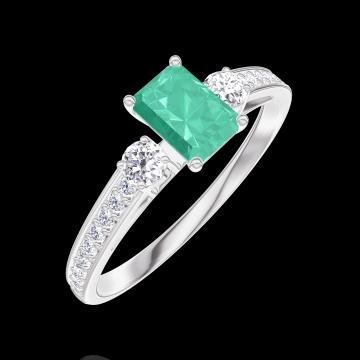 Anello Create 162028 Oro bianco 9 carati - Smeraldo Rettangolo 0.3 Carati - Pietre laterali Diamante - Incastonatura Diamante