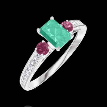 Ring Create 162048 White gold 9 carats - Emerald Baguette 0.3 Carats - Ring settings Ruby - Setting Diamond white