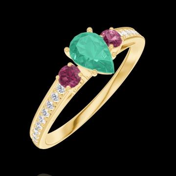 Ring Create 162246 Yellow gold 9 carats - Emerald Pear 0.3 Carats - Ring settings Ruby - Setting Diamond white
