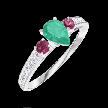 Ring Create 162248 White gold 9 carats - Emerald Pear 0.3 Carats - Ring settings Ruby - Setting Diamond white