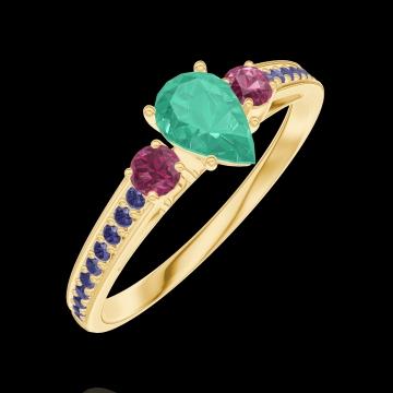 Anello Create Engagement 162254 Oro giallo 9 carati - Smeraldo Goccia 0.3 Carati - Pietre laterali Rubino - Incastonatura Zaffiro blu